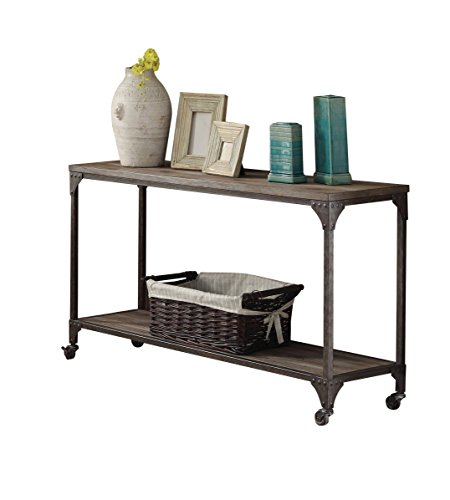 (Acme Furniture 81449 Gorden Sofa Table, One Size, Weathered Oak & Antique Silver)