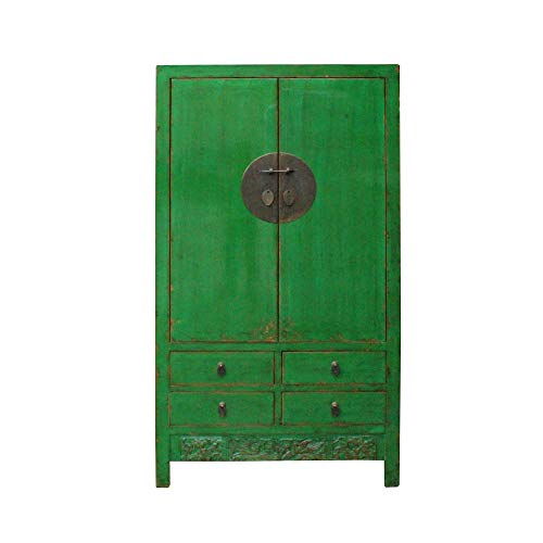 Chinese Distressed Emerald Green Tall Wedding Armoire Wardrobe TV Cabinet Acs4905 from A Large Cabinet