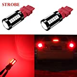 Alla Lighting 2800lm Red 3156 3157 LED Strobe Brake Lights Bulbs Xtreme Super Bright T25 Wedge High Power 5730 33-SMD 12V Flashing Stop Lights Replacement 3057 3457 4157 4057 3056