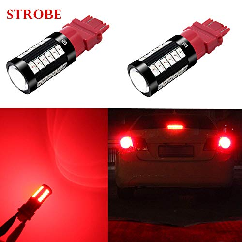 Alla Lighting 2800lm Red 3156 3157 LED Strobe Flashing Brake Light Xtreme Super Bright T25 3133 3157 LED Bulbs High Power 5730 33-SMD LED 3157 Bulb 3057 3457 4157 4057 LED Signal Brake Stop Tail Light