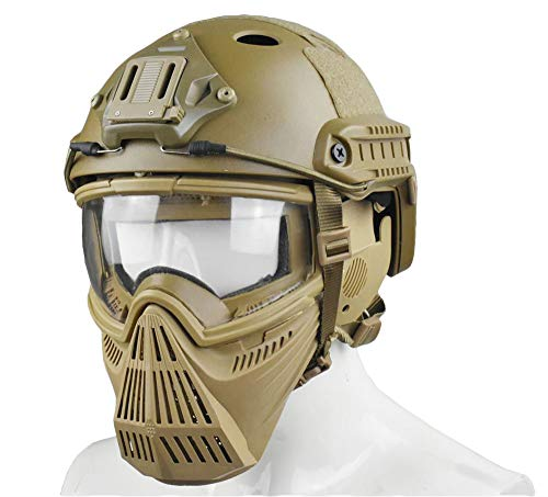 JFFCESTORE Tactical Mask and Fast Helmet,Protective Full Face Anti-Fog Clear Goggle mask Ear Protection Adjustable Strap One Size fits All (Brown)