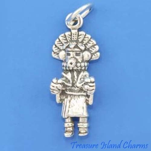 Native American Morning Sun Singer Kachina Doll 3D 925 Sterling Silver Charm Crafting Key Chain Bracelet Necklace Jewelry Accessories Pendants (Baguette Ring Sides)