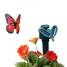 CNZ Fluttering Solar and Battery Powered Butterfly with Ground Spike, Monarch Orange