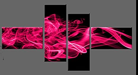 DEEP PINK ABSTRACT CANVAS PICTURE ON BLACK SMOKY WALL ART MULTI 4 PANEL 146CM