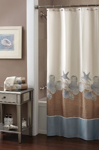 CROSCILL Shells Ashore Shower Curtain, 70 by 72-Inch, -