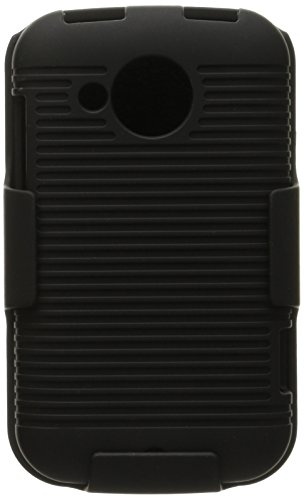 Aimo Wireless HTCDESIRECPCBEC001 Shell Holster Combo Protective Case for HTC Desire C with Kickstand Belt Clip and Holster - Retail Packaging - Black