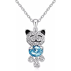 Cute Lucky Cat With SWAROVSKI ELEMENTS Crystal Necklace Pendant for Girls (Blue)