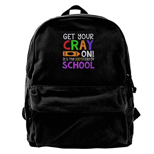 Mens Blcak Backpack Vintage Book Bag Get Your Cray On 100Th Day Of School]()