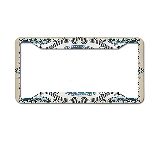 keyishangmaoLu Victorian Butterfly and Curved Fish Pattern Eastern Shabby Chic Image License Plate Frame Aluminum License Plate Frame Car Tag Cover 4 Holes and Screws ()