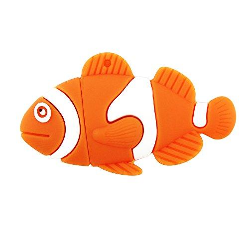 CHUYI Animal Series Ocean Gold Fish Shape 32GB USB 2.0 Flash Drive Novelty Pendrive Memory Stick Cute Thumb Drive Storage Cartoon Pen Drive Gift (Orange) (Fish Usb)