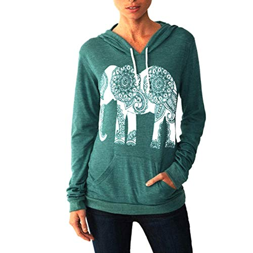 PRIMODA Women Fall Hoodies Elephant Print Long Sleeve Pullover Casual tops with Pocket(Green,XXL)