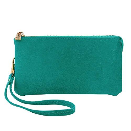 - Humble Chic Vegan Leather Wristlet Wallet Clutch Bag - Small Phone Purse Handbag, Turquoise, Teal, Aqua Blue