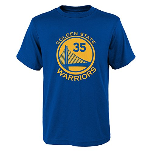 Golden State Warriors NBA Kevin Durant Youth Flat Basic Name & Number Tee (Royal) L (Raiders Team Jersey Official)
