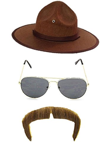 Nicky Bigs Novelties State Highway Patrol Trooper Mountie Hat Aviators Mustache Costume - Patrol Highway Sunglasses