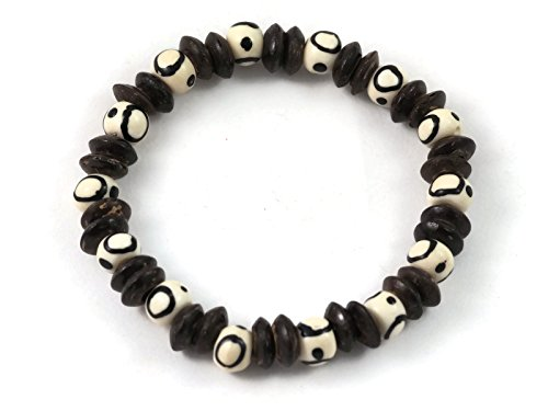 Bracelet Coconut Shell Stretch ((Clearance Sales) BrownBeans, Casual Surf Style Coconut Shell Wood Bead Unisex's Stretch Bracelets (CBCT5053))