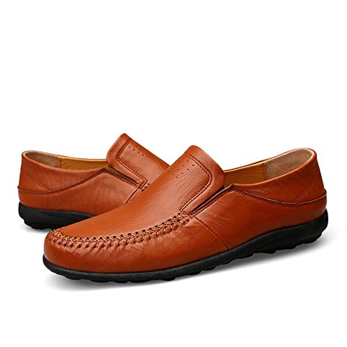 Blandas tamaño Reddish Barco Genuino Mocasines refrescantes de y Hombres EU Hollow Cuero Brown resbaladizo Color Zapatos Mocasín conducción con 44 Suelas de Son los Ocasionales de de no WA6g4