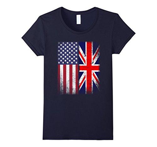 Womens British American Flag T-shirt Great Britain Union Jack Medium Navy