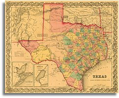 Amazoncom 1855 Texas County Map by JH Colton Office Products