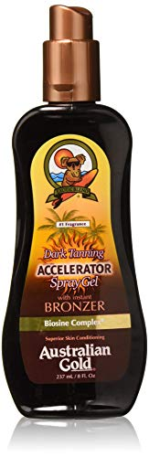 Australian Gold Dark Tanning Accelerator Spray Gel With Bronzer, Reef Safe Tanner, Cruelty Free, 8 Ounce