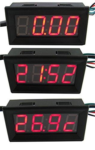 3 in 1 car meter led gauge volt + time + temperature - 2