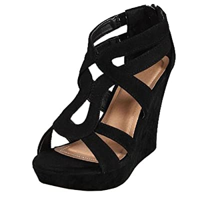 JJF Shoes Top Moda Women's Strappy High Heel Platform Wedges Sandals