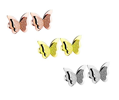 CTJA 18K Rose Gold Plated Titanium Steel Classic Simple Frosted Butterfly 3 Pairs Stud Earrings Gift for Woman and Girls