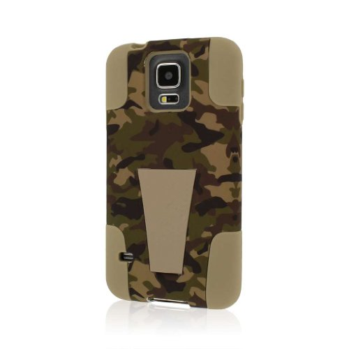Samsung Galaxy S5 / GS5 Case, MPERO IMPACT X Series Dual Layered Tough Durable Shock Absorbing Silicone Polycarbonate Hybrid Kickstand Case for Galaxy S5 [Perfect Fit & Precise Port Cut Outs] - Hunter Camo