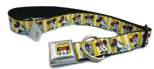"""Disney's Minnie Mouse Yellow Striped Seat Belt Buckle Collar 1"""" x 9-15"""""""