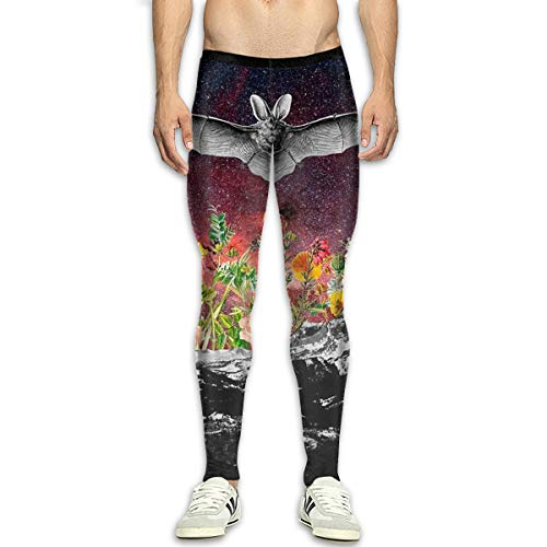 Space Bat Flowers Galxy Mens Basketball Sports Tights