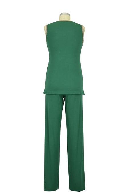 82686d7ab59 Baju Mama 3-pc. Emma Modal-Lace Sleeveless Nursing PJ & Robe Set - XXL - Hunter  Green/Cream Lace at Amazon Women's Clothing store: