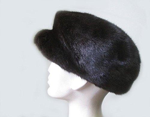 Mens New Dark Ranch Black Mink Fur Hat Newsboy Sz 24