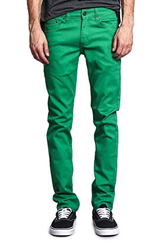 Victorious Men's Skinny Fit Color Stretch Jeans DL937 - Kelly/Green - 28/30
