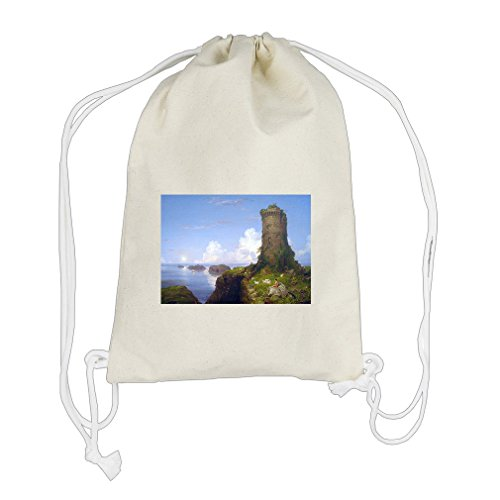 Italian Coast Ruined Tower (T Cole) Cotton Canvas Backpack Drawstring Bag (Ruined Tower)