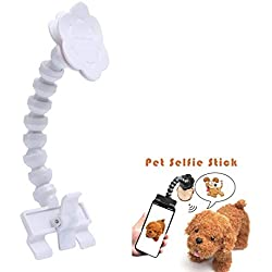 Pet Selfie Phone Clip Portable Pet Selfie Stick Smartphone Attachment Selfie Stick Pets Dog Cat Take Photos Training Toy, Shoot The Funny Photo Pet at Anytime Fit Most Cellphone, White