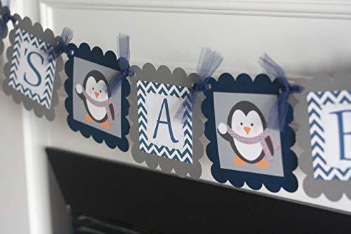 Navy Blue & Grey Chevron Penguin Winter Snowflake Theme Baby Shower