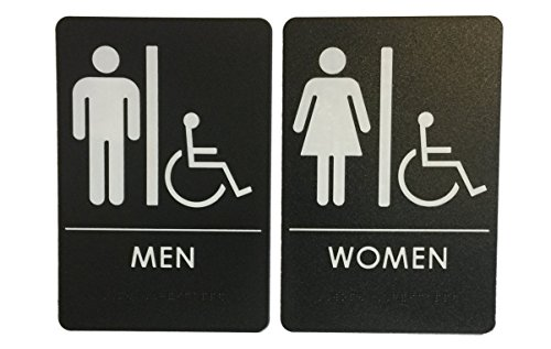 Restroom Sign Combo Pack(s) By London Health Products - Choose Your Color and Quantity (1 Pack, Black Man/Woman Wheelchair)
