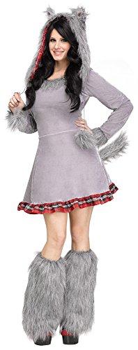 Fun World Women's Wolf Cub Adult Animal Costume, Multi, Medium/Large -