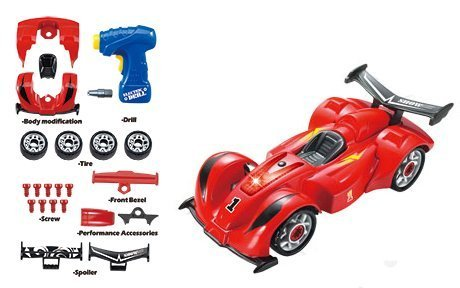 (Educational Racing Car & Fun Take Apart Race Car Toy for Kids with 24 Take Apart Pieces, Tool Drill, Lights and Sounds)