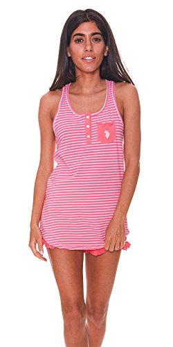 (U.S. Polo Assn. Womens 2 Piece Racer Back Tank Top & Pajama Shorts Sleepwear Set Bright Rose Small)