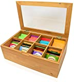 Big Natural Bamboo Tea Box Storage Organizer