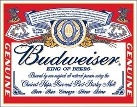 Tin Sign Budweiser - Label (Sign Tin Label Budweiser)