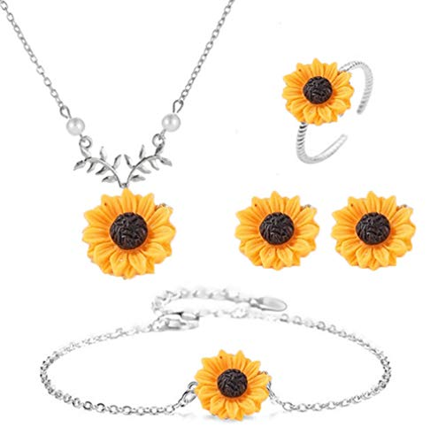 dwcly Hope Flowers Sunflower Clavicular Bones Pendant Short Yellow Daisy Flower Necklace Earring Bracelet Set Romantic Gift (Silver)