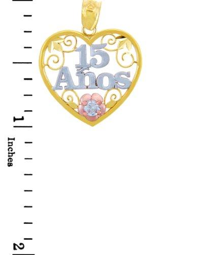 """10 ct 471/1000 """"Sain 15"""" Ans Or Coeur- Avec Oxyde de Zirconium Pendentif Collier (Livre Avec un 45 cm Chaine)"""