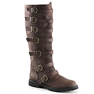 Summitfashions Mens Distressed Finish Brown Boots with Adjustable Buckles and 1.5 Inch Heels