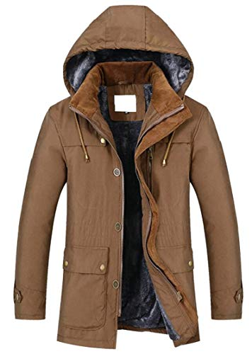TTYLLMAO Men's Hooded Faux Fur Lined Quilted Winter Coats Jacket Coffee