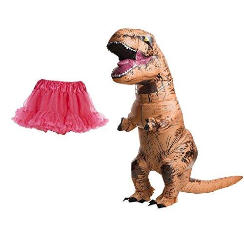 [Inflatable T-Rex Adult Costume - Pink Tutu Bundle] (Raptor Costume Jurassic Park)