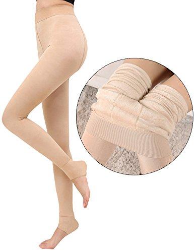 FV RELAY Women's Winter Warm Fleece Lined Velvet Elastic Leggings High Waisted (Skin - Colors Warm Skin