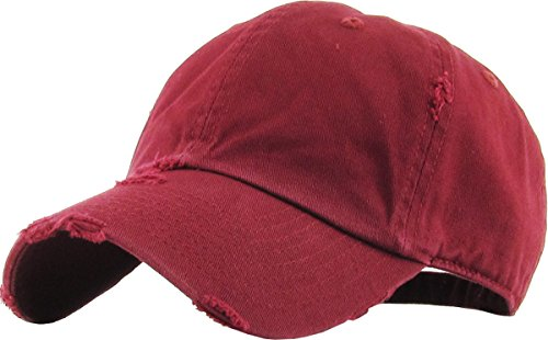 KBETHOS Vintage Washed Distressed Cotton Dad Hat Baseball Cap Adjustable Polo Trucker Unisex Style Headwear (Vintage) Maroon Adjustable