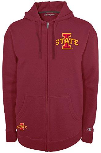 Champion NCAA Iowa State Cyclones Men's Fan Favorite 2 Full Zip Hooded Fleece Jacket, Small, True Cardinal