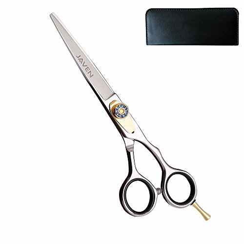 JAVEN Professional Razor Edge Hair Scissors With Case,Hairdressing Hair Cutting Shears/Scissors With Adjustable Tension Screw-Comfortable Finger Rest,Japan 440c Stainless 6 Inch -